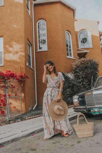dress boho dress hat bag sandals floral floral dress
