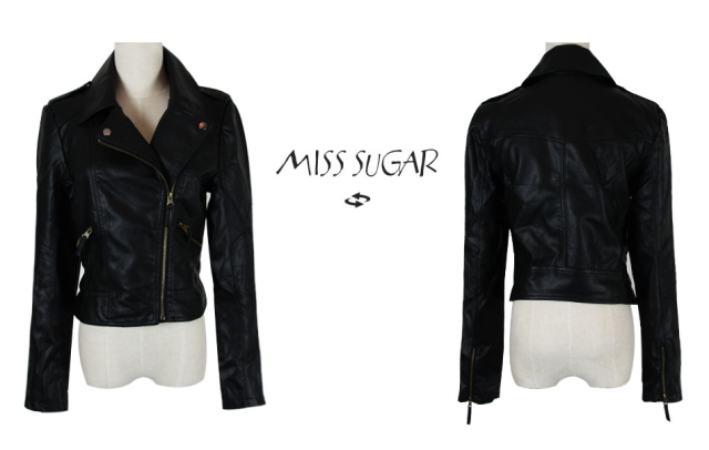 Hot 2012 woman black faux leather pu slim casual biker jackets coats s m l xl