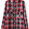 Red lapel long sleeve plaid loose blouse -shein(sheinside)