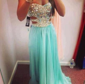 dress prom dress blue dress light blue perles
