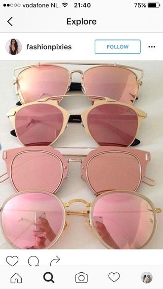 sunglasses pink rose gold