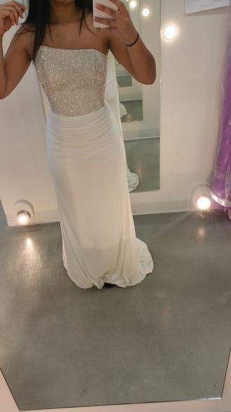 dress white dress prom dress prom gown prom girl prom girl gown sparkly dress sparkle dress sparkle long dress