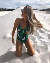 swimwear,green,zaful,summer,one piece swimsuit,one piece,cut-out,cut-out swimwear