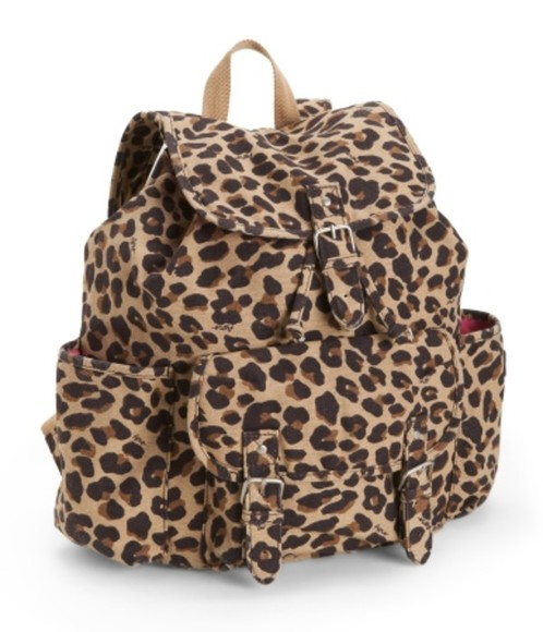 bag leopard print backpack buckles pockets