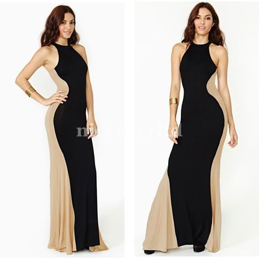 Women Cocktail Party Contrast Color Block Bodycon Maxi Long Dress E639 | eBay