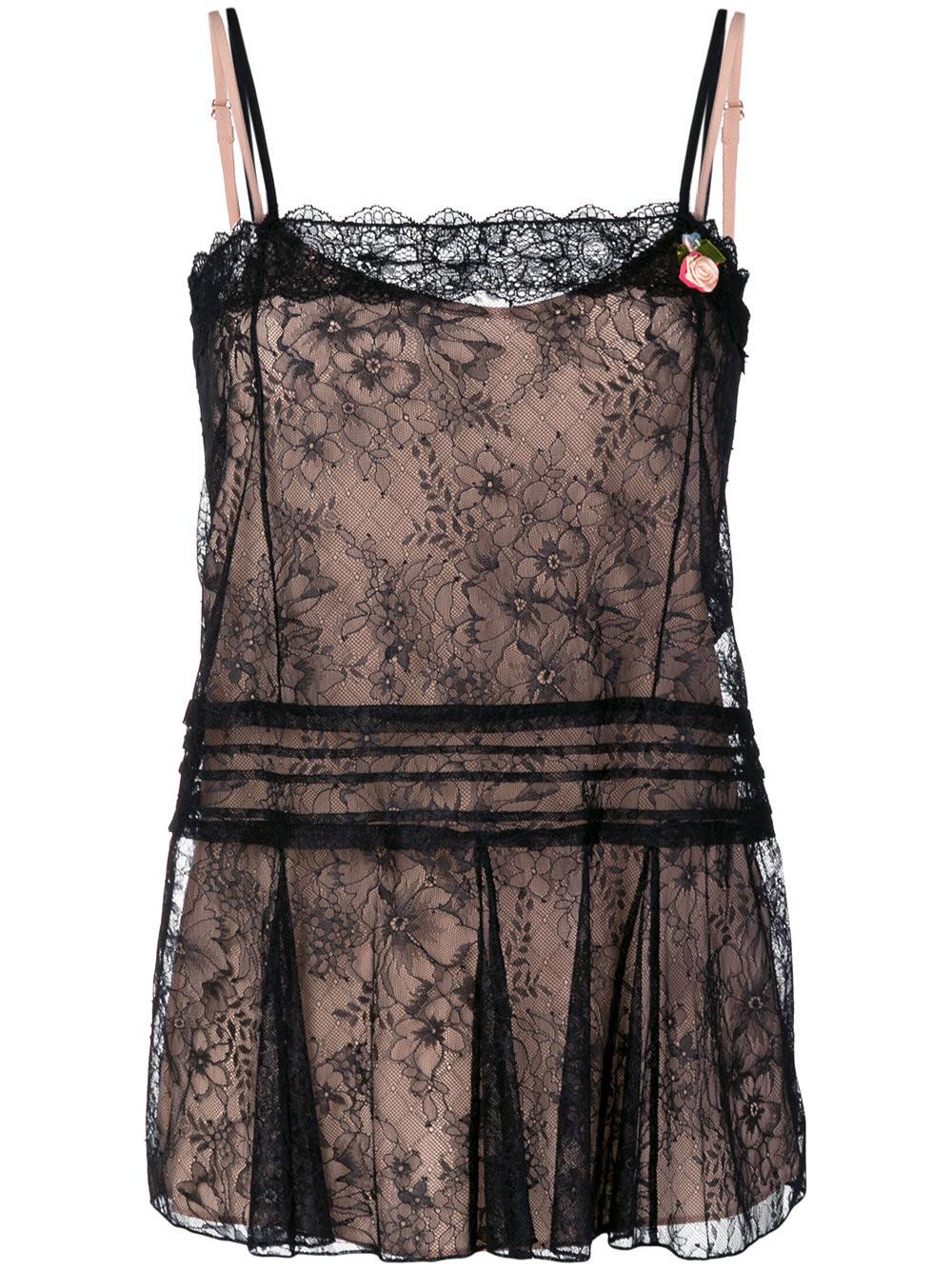 Twin-Set lace lingerie top - Black