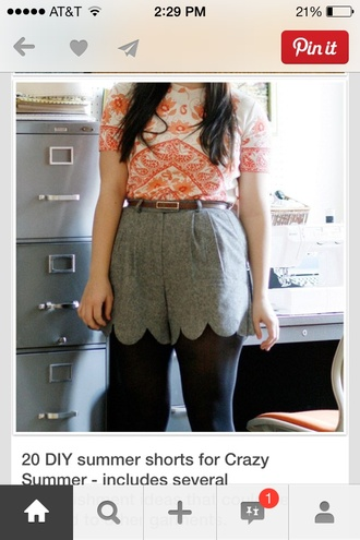 shorts grey scalloped high waisted
