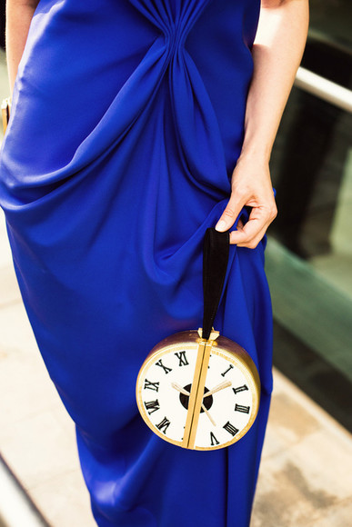 chic cute bag clock clutch purse
