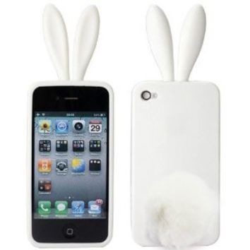 Amazon.com: Lovely Rabbit Silicone Bunny Case For iPhone 5 with Furry Tail - White: Cell Phones & Accessories on Wanelo