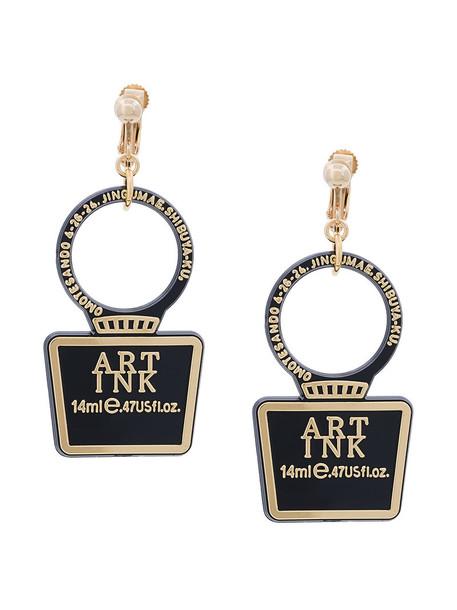 Theatre Products transparent women plastic earrings black jewels