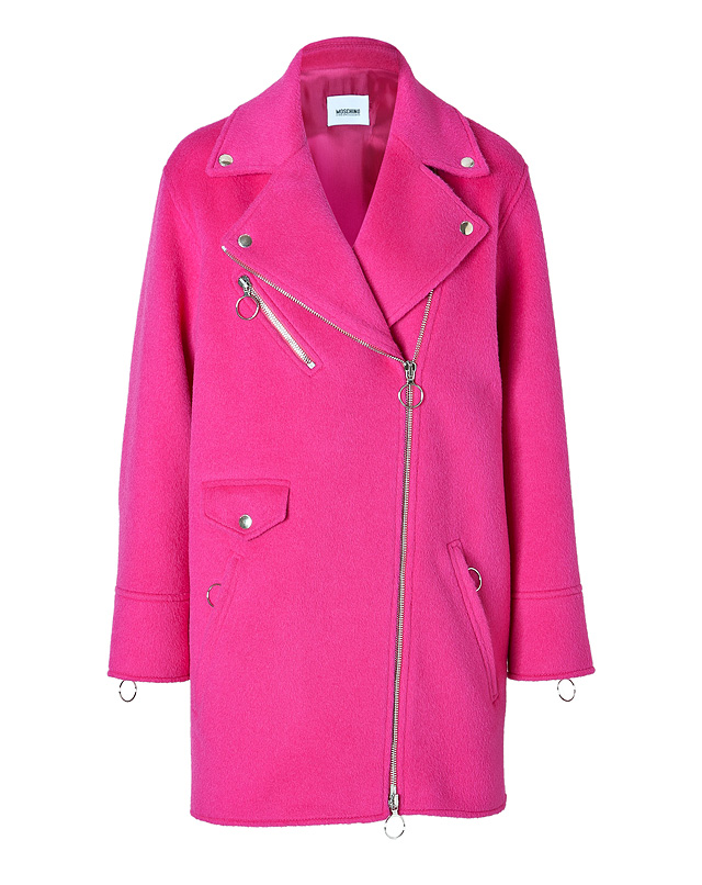 Alpaca-Wool Blend Biker-Style Coat in Fuchsia from MOSCHINO C&C | Luxury fashion online | STYLEBOP.com