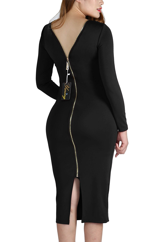 Amazoncom Yming Women Zip Front Bodycon Party Club Evening Plus Size Dress S 4xl Clothing