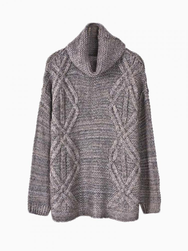 Gray Knit Sweater With Roll Neck | Choies
