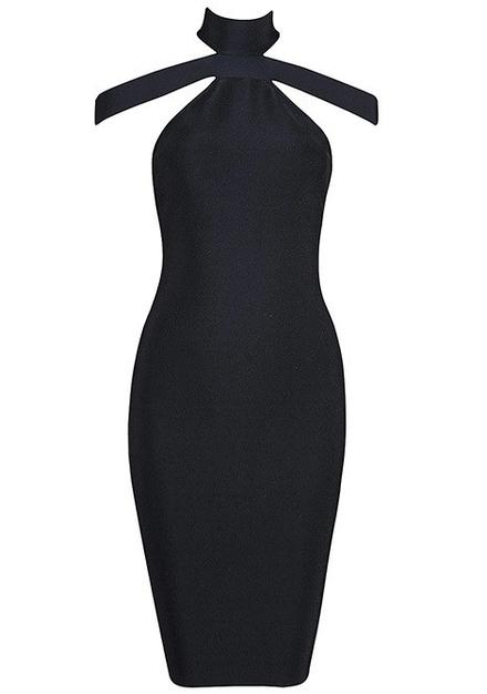 Halter Strap Bandage Dress Black