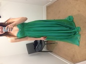 dress,prom,green,emerald green,strapless,gown,designer,prom dress,strapless dress