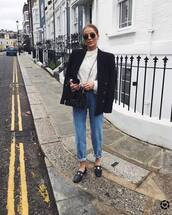 coat,blazer,double breasted,black blazer,black jacket,black loafers,white jumper,knitted sweater