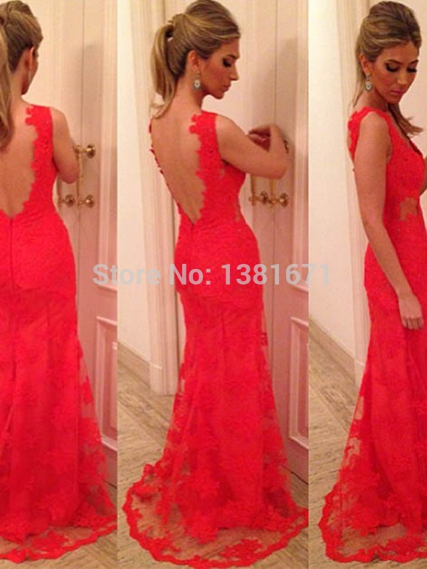 Aliexpress.com : Buy Real Picture Floral Hot Lace Sexy Backless Red Mermaid Celebrity Dress 2014 from Reliable celebrity blue dresses suppliers on Aojia Top Evening Dress