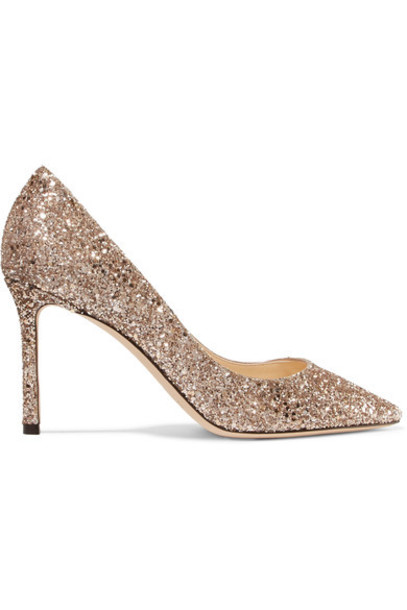 Jimmy Choo pumps gold leather shoes