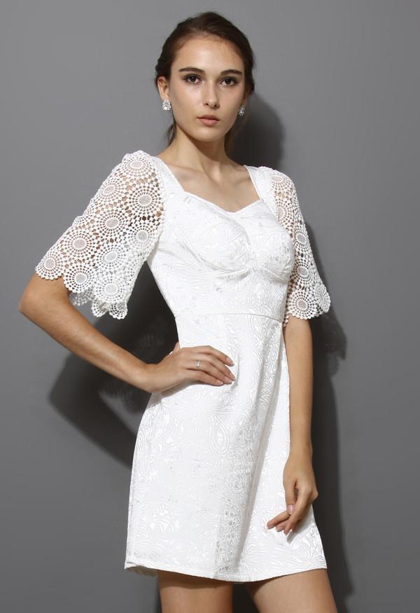dress floral embossed white crochet sleeves