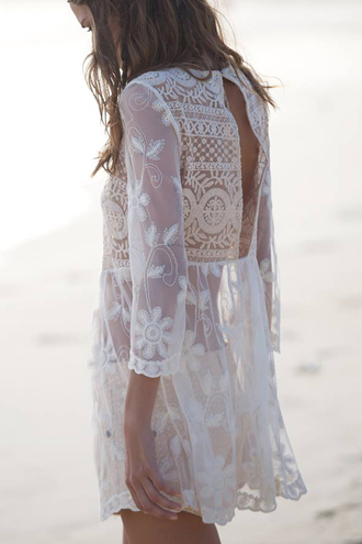 skirt lace sheer white shirt white lace top white dress white tunic white lace dress dress lace dress white crochet dress beach crochet dress summer summer dress tumblr tumblr dress crochet cream swimwear blouse cardigan bohemain beach