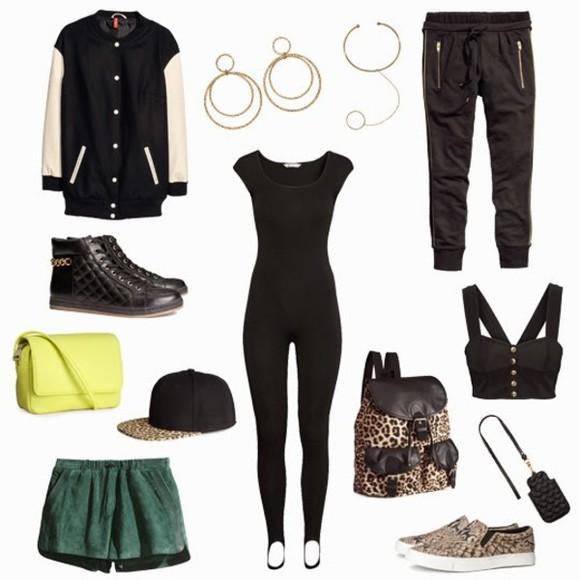 shorts combinaison blouson veste officier bustier sac bijoux pantalon chaussures leopard print jaune fluo jaune vert casquette pants bag