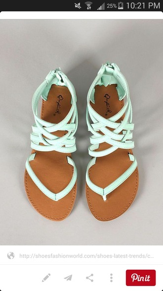 shoes mint strappy sandals sandals