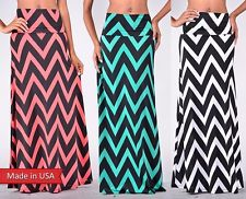 Color Chevron Stripe Zigzag Fold Over High Wide Waistband Chic Long Maxi Skirt