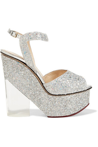 sandals wedge sandals silver leather shoes