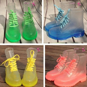 Free Drop Shipping! 2013 PVC Transparent Womens Colorful Crystal Clear Flats Heels Water Shoes Female Rainboot Martin Rain Boots-in Boots from Shoes on Aliexpress.com