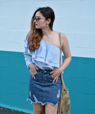 top tumblr one shoulder blue top stripes ruffle skirt mini skirt denim denim skirt summer outfits