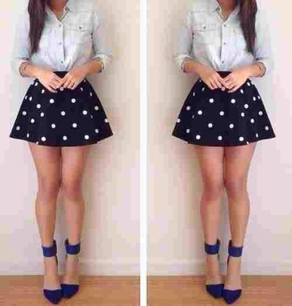 skirt polka dots skater skirt cute pois black shoes blue shoes office shoes pointed toe black white skirt polka dot skirt polka dots blue and white blouse denim jacket girly jeans denim short skirt denim shirt shirt