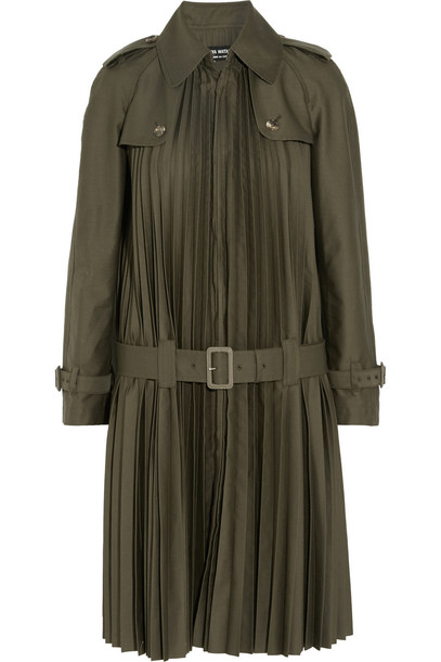 coat trench coat pleated forest green forest green