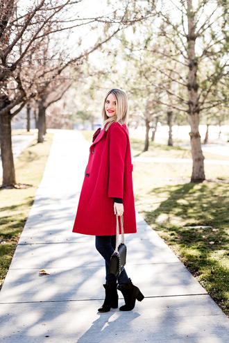 ivory lane blogger coat jeans shoes bag make-up red coat winter outfits fall outfits ankle boots boots