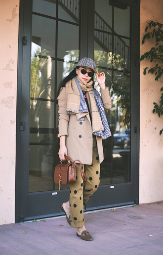 pants scarf hat brown bag tumblr nude pants polka dots fall outfits coat trench coat shoes mules bag