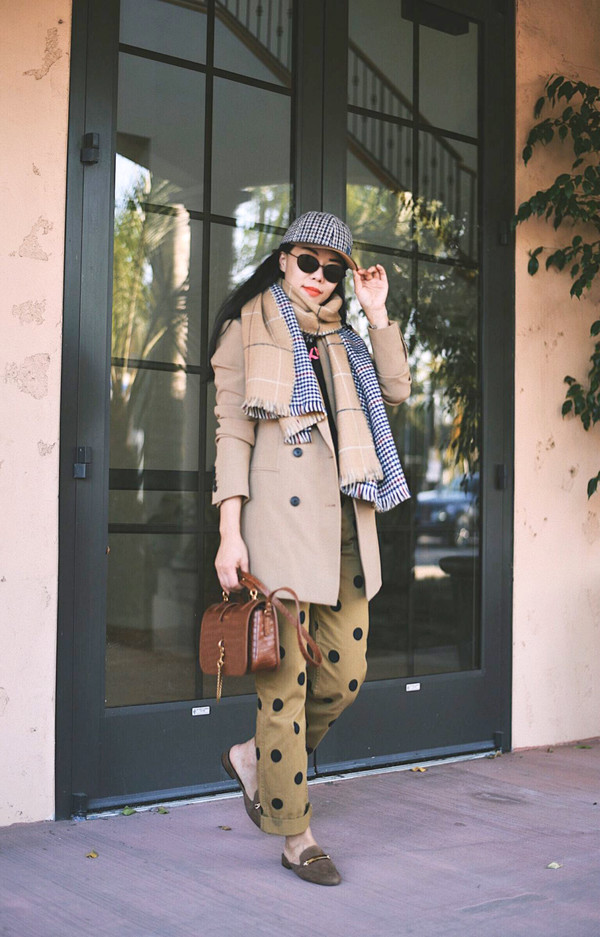 f4cff4cb6821e pants scarf hat brown bag tumblr nude pants polka dots fall outfits coat  trench coat shoes