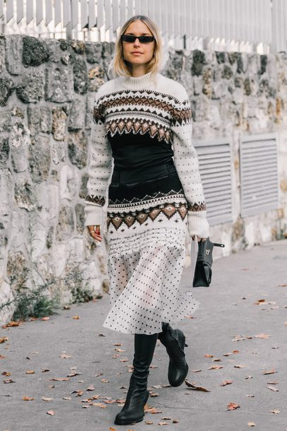 sweater tumblr knit knitwear knitted sweater skirt midi skirt polka dots sunglasses boots black boots