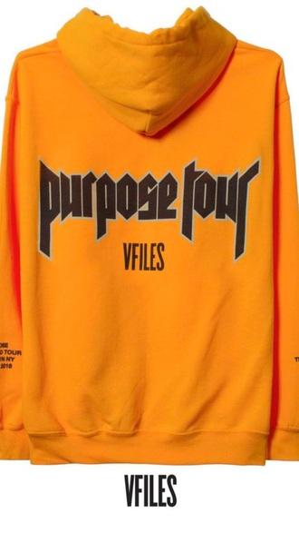 sweater yellow justin bieber purpose tour hoodie