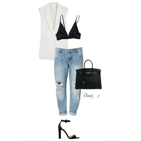 coat white rihanna bag tank top jeans