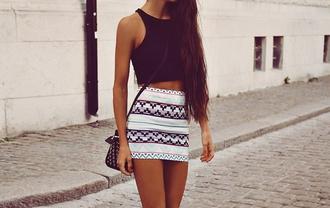 skirt neon black shirt