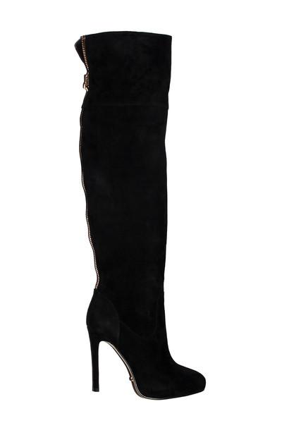 4 inch heels black suede the knee high heel boots