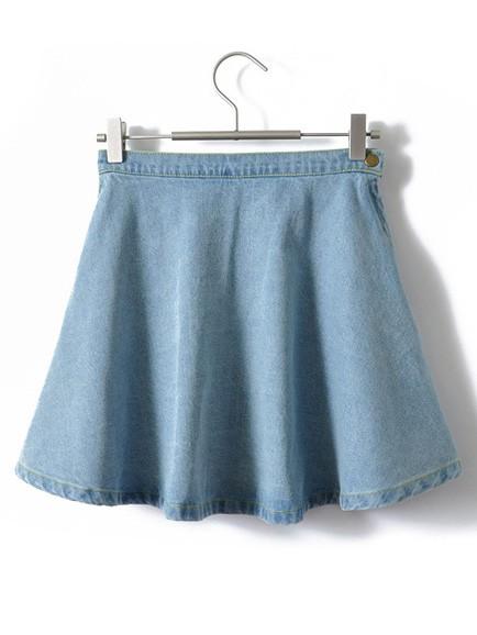 Summer casual stylish high waist blue denim umbrella skirt