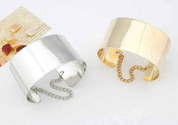 Min order is $10(mix order)Fashion jewelry Mirror Punk Rock Wide Flat Gold Tone or Silver Tone Bangle Cuff Bracelet  women SL042-inSpecial Store from Jewelry on Aliexpress.com