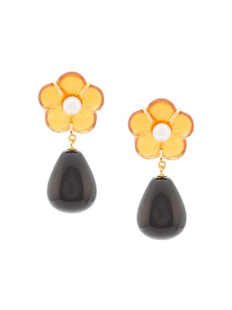 LIZZIE FORTUNATO JEWELS women daisy earrings gold black jewels