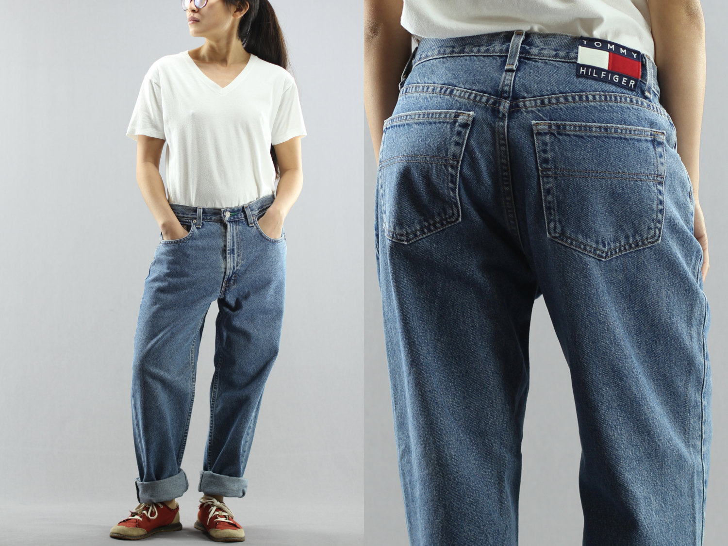 ca680c218 Baggy Tommy Hilfiger Boyfriend Pants Relaxed Loose Fit Medium Washed Blue  Jeans Size 10 Women's 90's Vintage