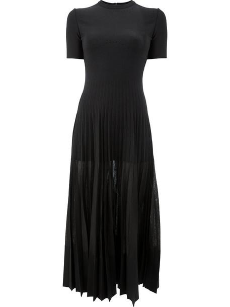Alexander Mcqueen dress midi dress pleated women midi black silk wool
