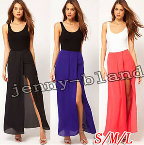 Hot Women Sexy Chiffon High Waist Open Leg Elastic Waist Beach Skirt Maxi Dress