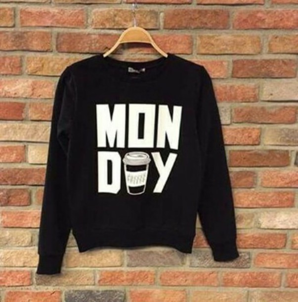 sweater black white crewneck crewneck sweater crewneck sweatshirt coffee monday