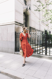 dress,red dress,shoes,sandals,slide shoes,sunglasses,bag