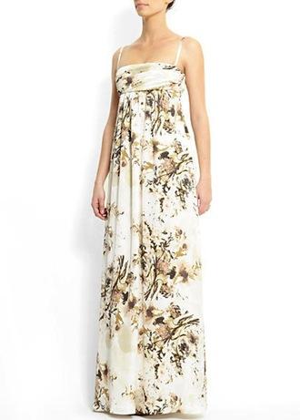 dress long dress maxi dress spaghetti strap empire waist floral soft dress