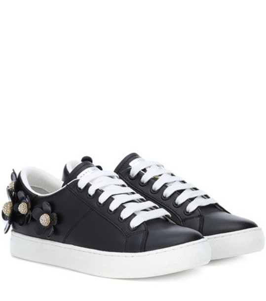 embellished sneakers leather black shoes